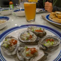 Homemade Raw Oysters dinner